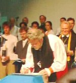 Bishop Rowell signing the Charta Ecumenica